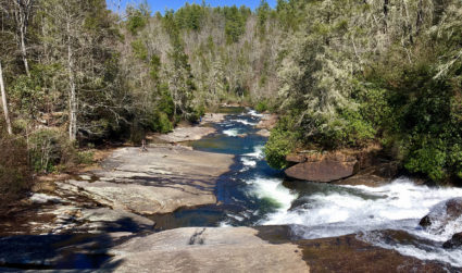 This 3-mile hike through a 10,400-acre forest features three waterfalls –...