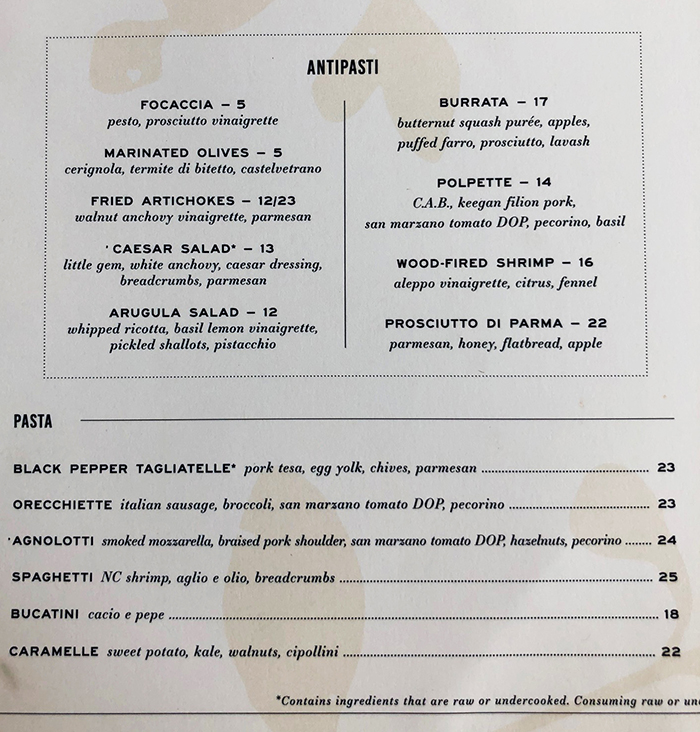 pastas at indaco italian restaurant charlotte