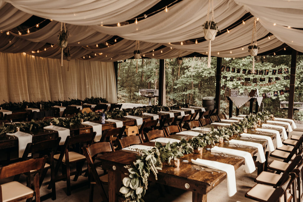 This bride turned a shelter at Copperhead Island into her dream reception venue on a $20,000 budget