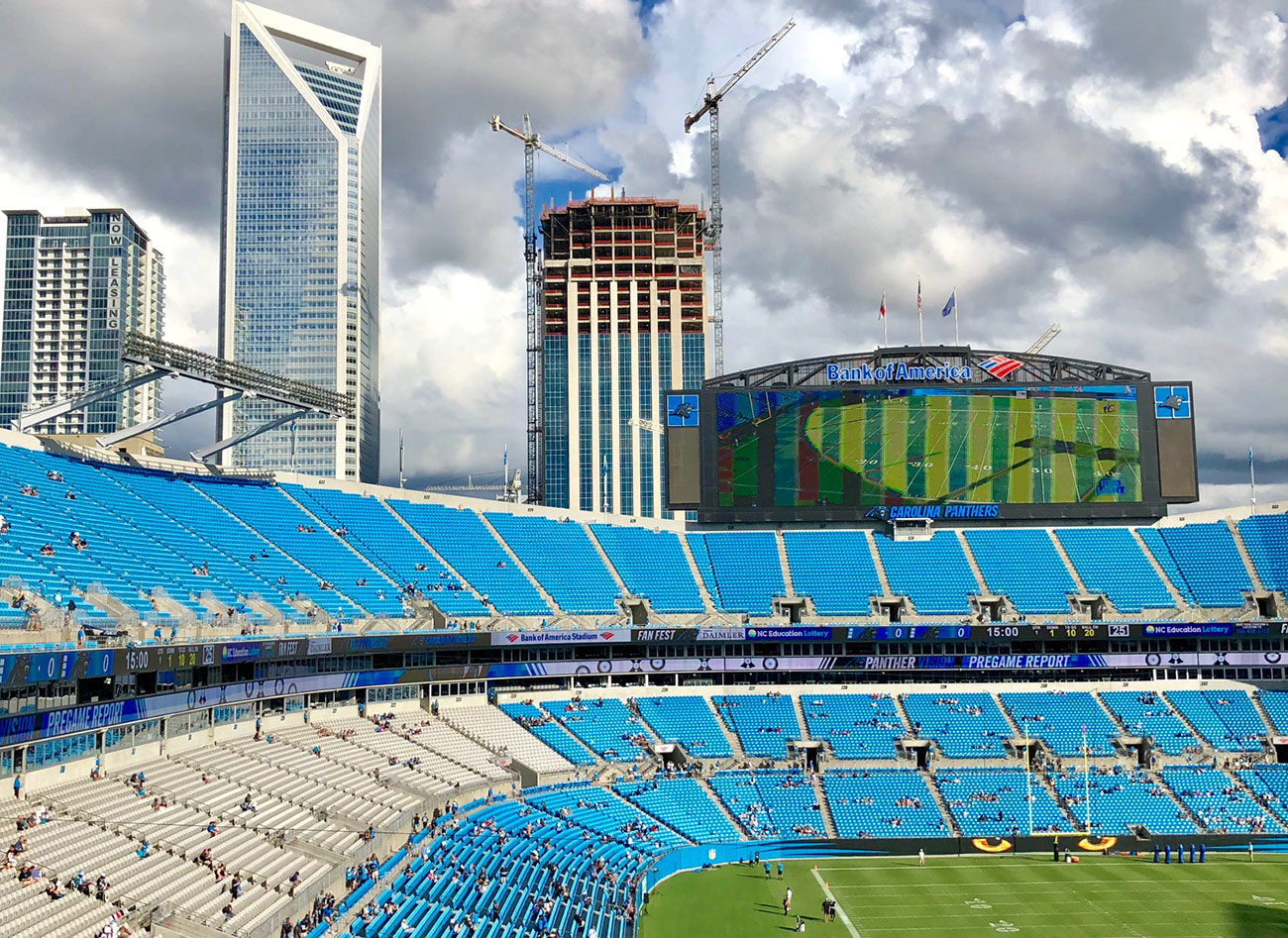 "Carolina Panthers evaluating bunker suites, 4-person on-field boxes and members-only ""Carolina Club"""