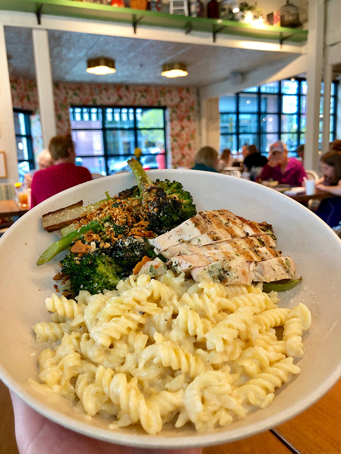 mac and cheese at flower child charlotte
