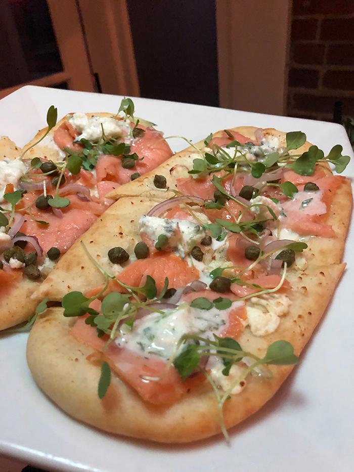 SOS salmon flatbread