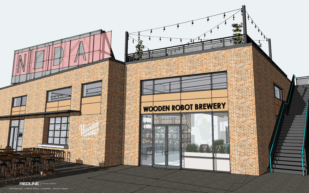 View renderings: Wooden Robot's NoDa location will have a rooftop bar when it opens this spring