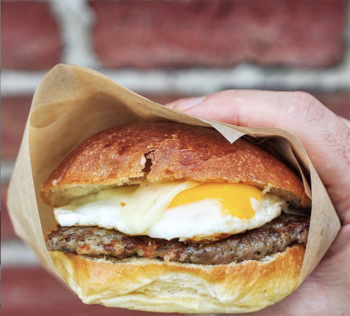 breakfast sandwich at eight and sand charlotte