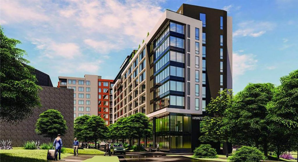 View renderings: Details emerge on Apex SouthPark development with 355 apartments, 175-room Hyatt Centric hotel and new SouthPark Church