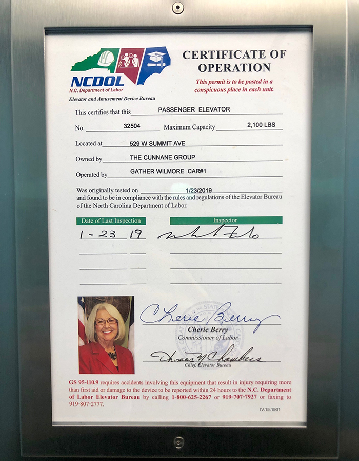 cherie berry elevator certificate