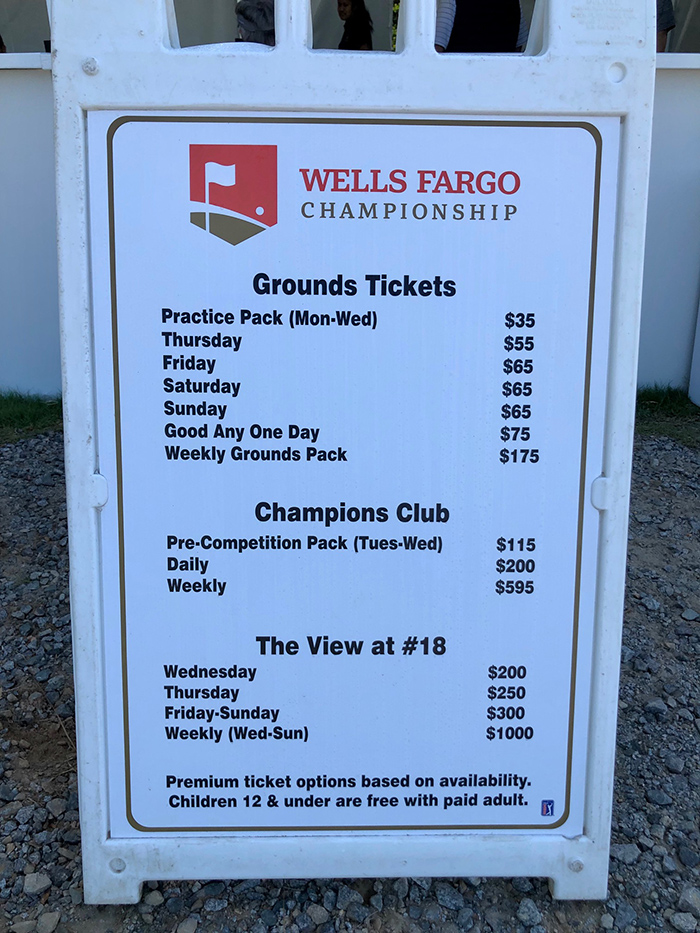ticket pricing wells fargo golf championship
