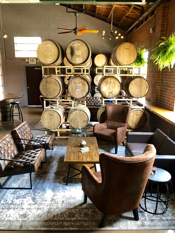 chairs at noda brewing taproom charlotte