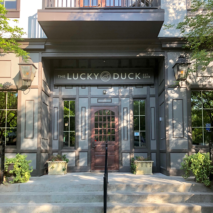 entrance of lucky duck restaurant