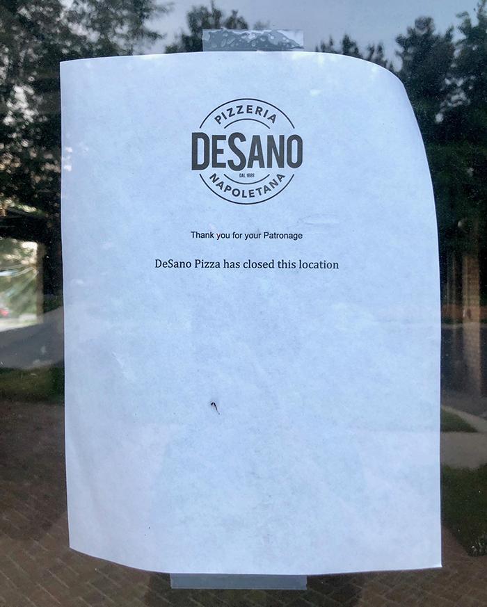 sign on door desano pizza charlotte