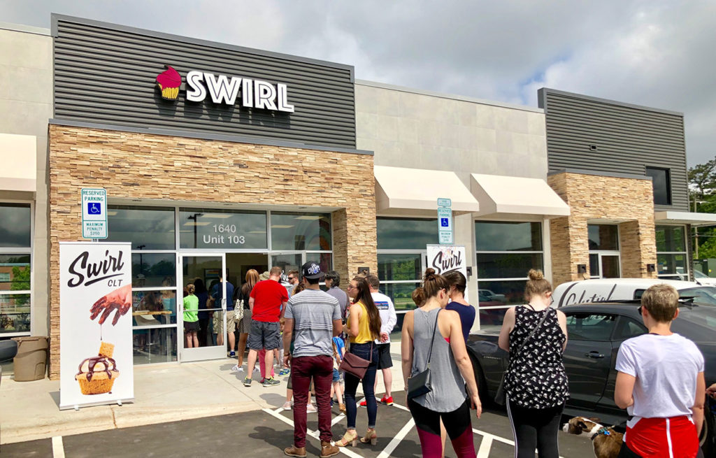 Swirl, featuring build your own cupcakes, opens to long line out the door in Oakhurst