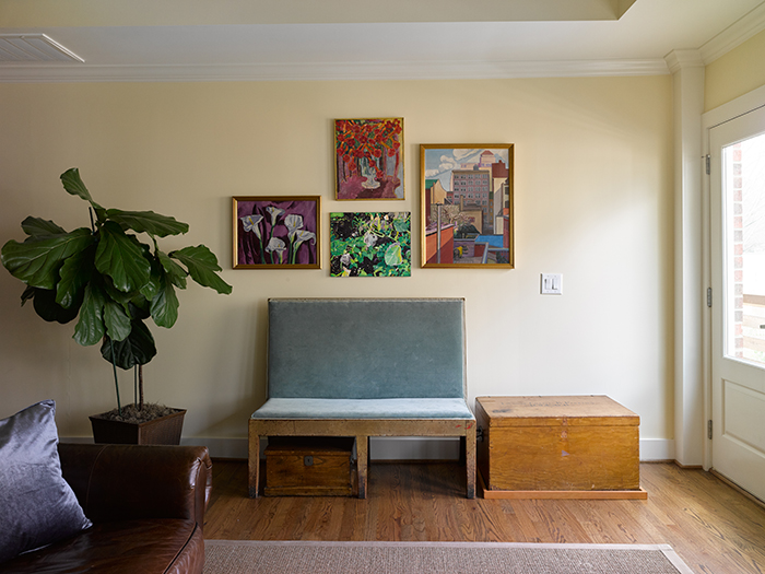 Bruce-Moffett-Home-Tour-living-room-bench-family-art