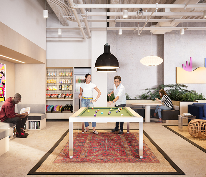 WeWork's new RailYard location pool table