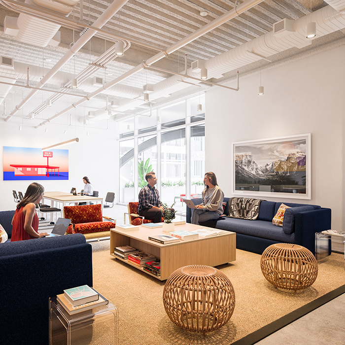 WeWork's new RailYard location seating area