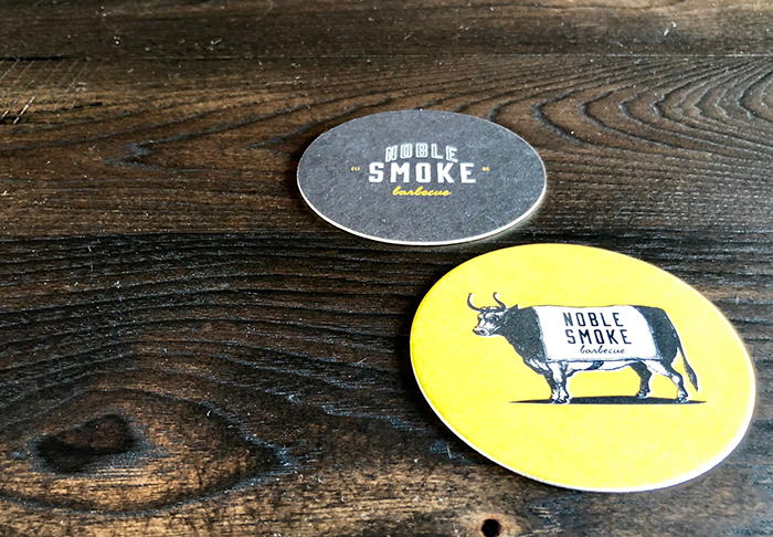 bar coasters at noble smoke