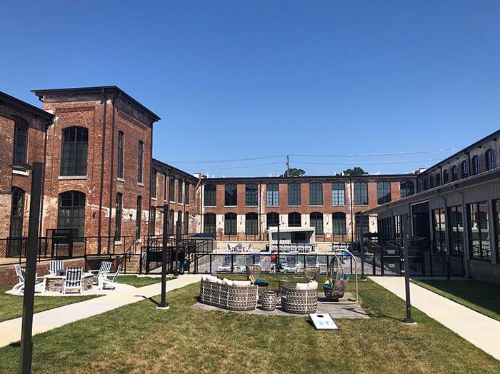 Lofts at Hawthorne Mill courtyard