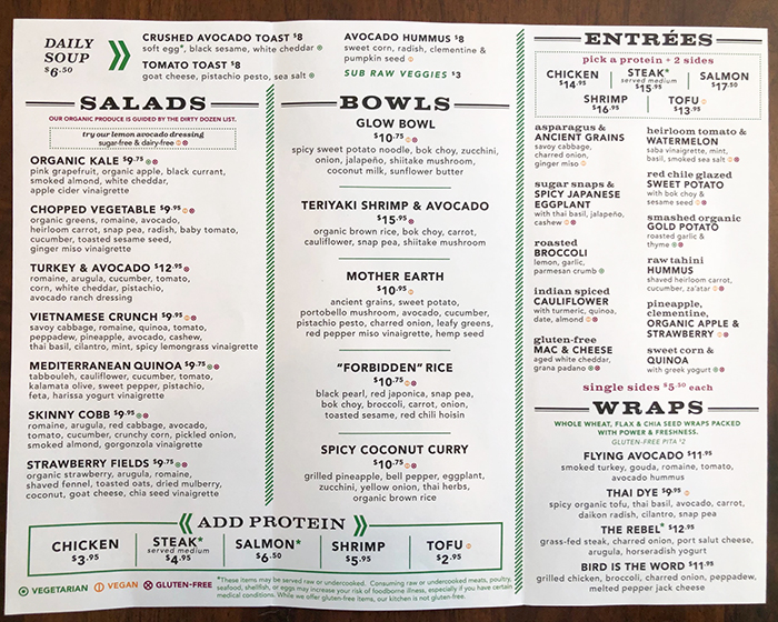 menu at flower child
