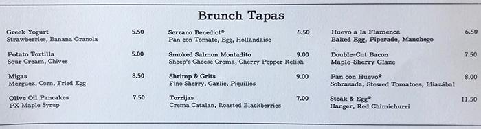 brunch menu at barcelona wine bar in charlotte
