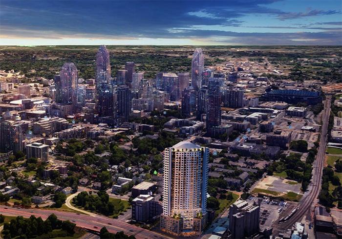 37-story uptown condo apartment tower skyline