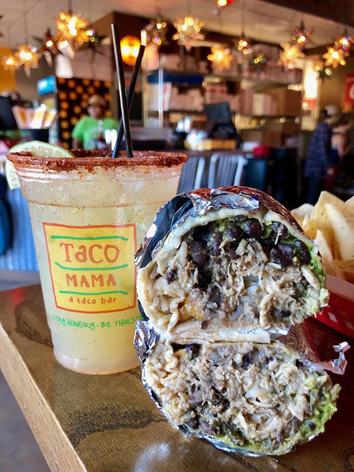 margaritas and burrito at taco mama charlotte