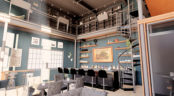 Elsewhere cocktail bar south end spiral staircase