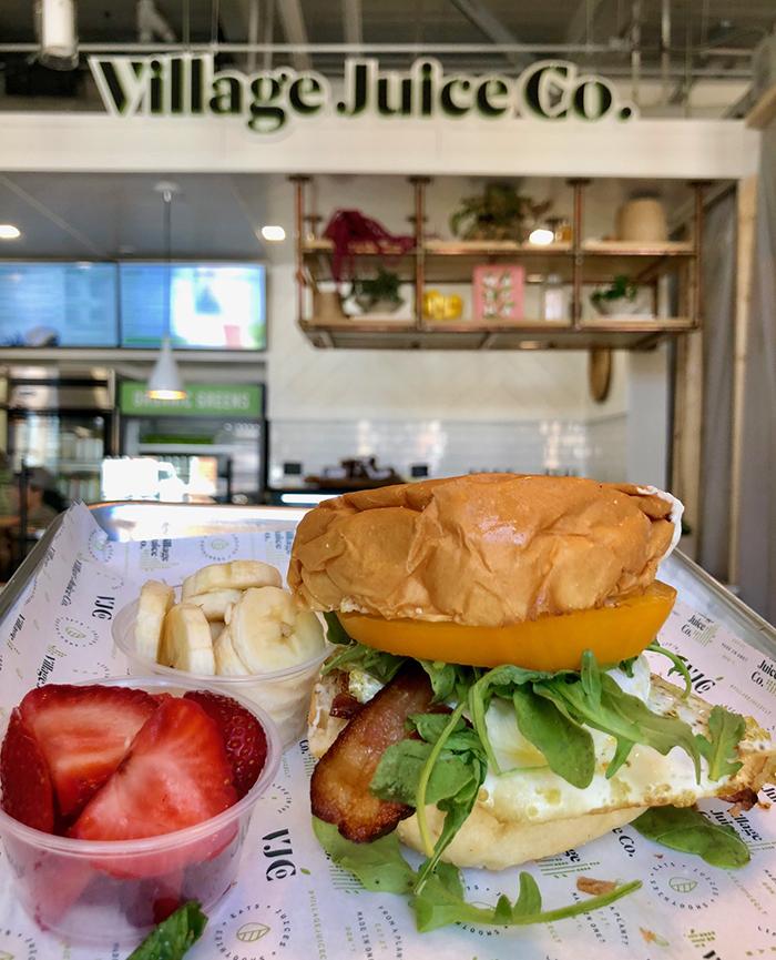 breakfast sandwich at village juice co optimist hall