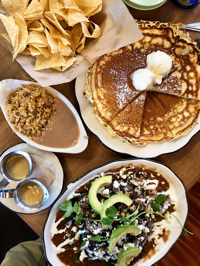pancake and beans for brunch at superica