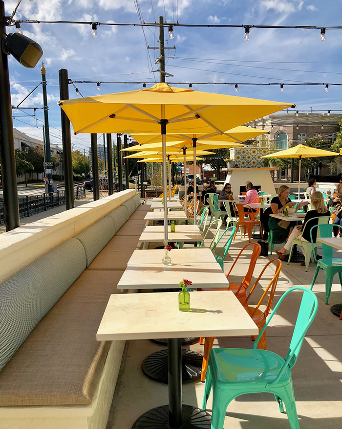 patio seating at flower child in south end