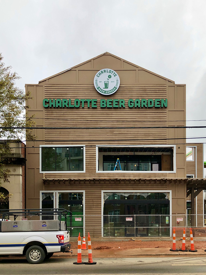 sign and logo at charlotte beer garden