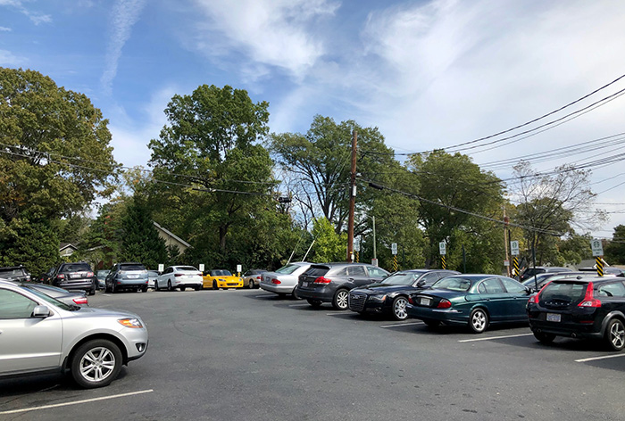 Parking lot behind the Starbucks on East Boulevard in Dilworth