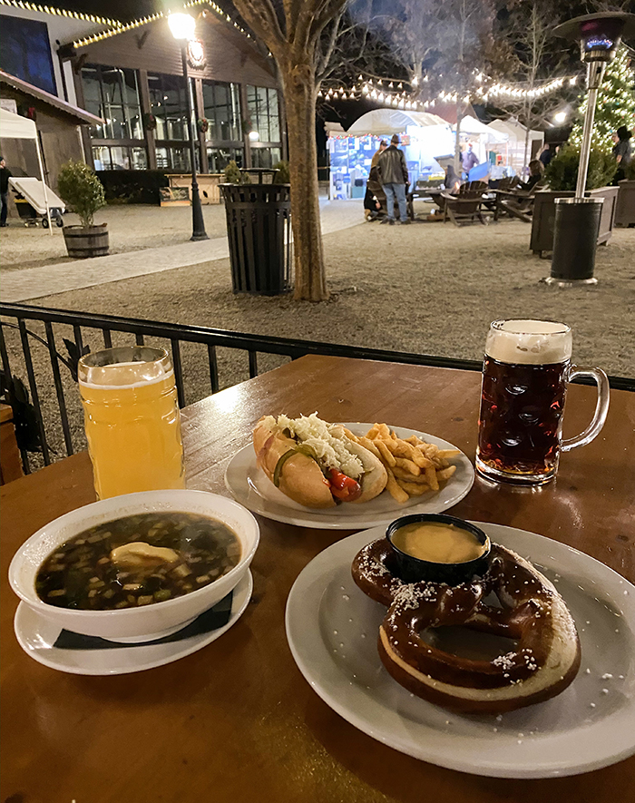 food and beer at olde mecklenburg brewery christmas village