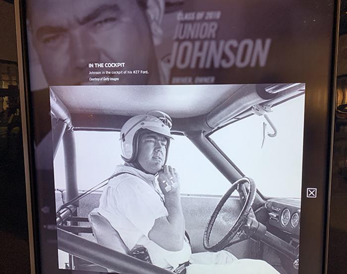 NASCAR Hall of Fame Junior Johnson display