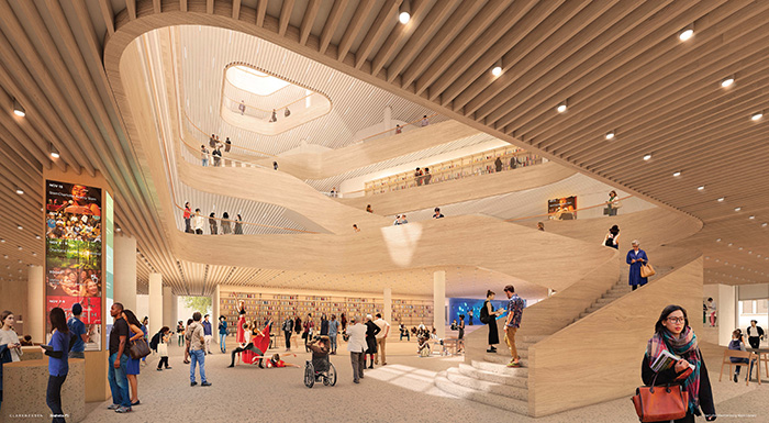 Rendering of the new library Uptown