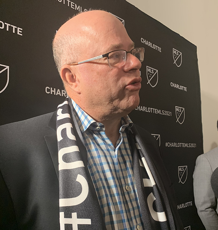 David Tepper speaks to the media during the MLS announcement at the Mint Museum in Uptown Charlotte on Tuesday.