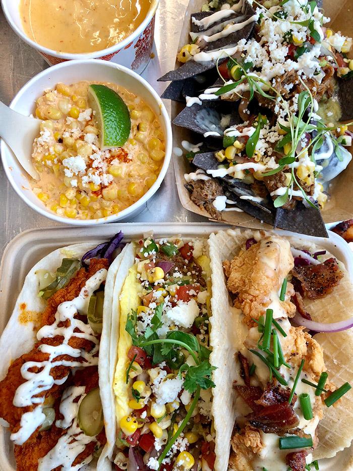 Velvet Taco elote, queso, tacos, nachos