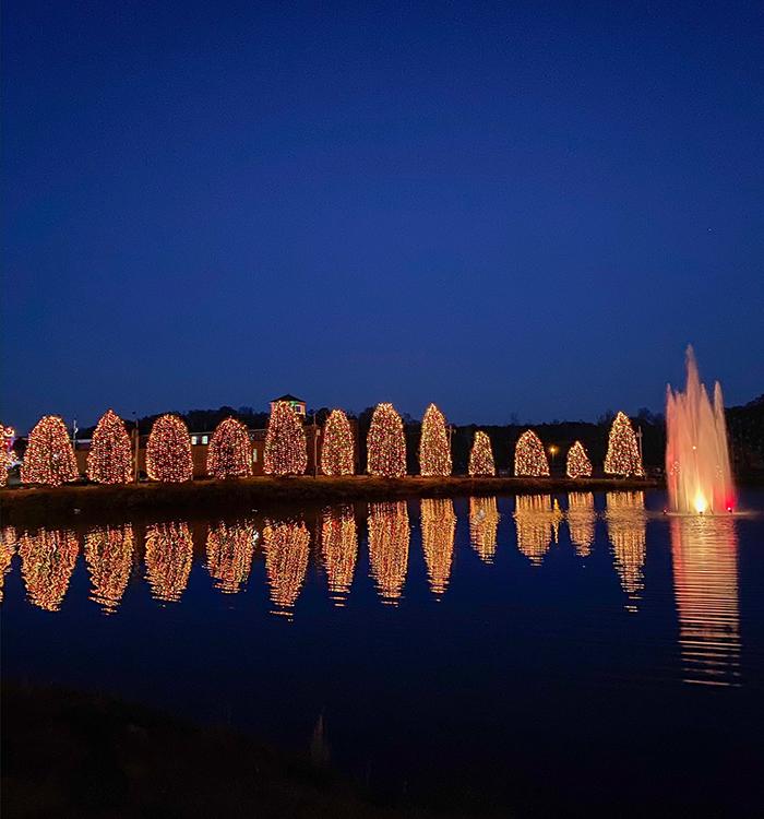christimas holiday lights near lake in mcadenville