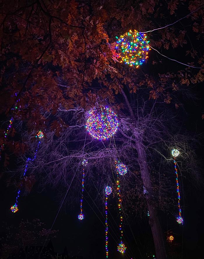 christmas light balls in trees hillside charlotte