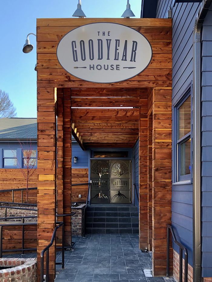 the goodyear house charlotte entrance sign