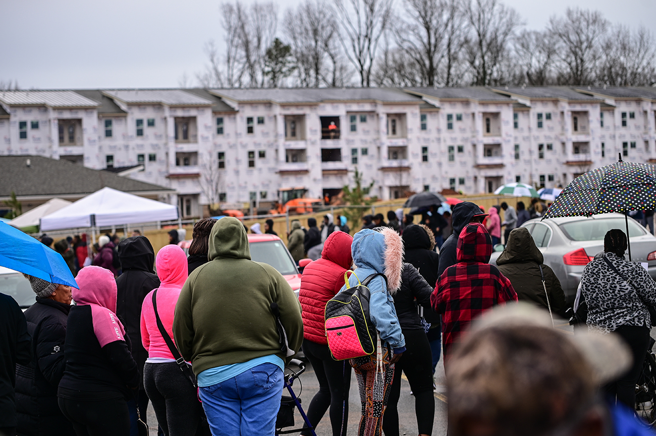 1,000 people lined up for 129 new affordable housing units on Freedom Drive on Monday