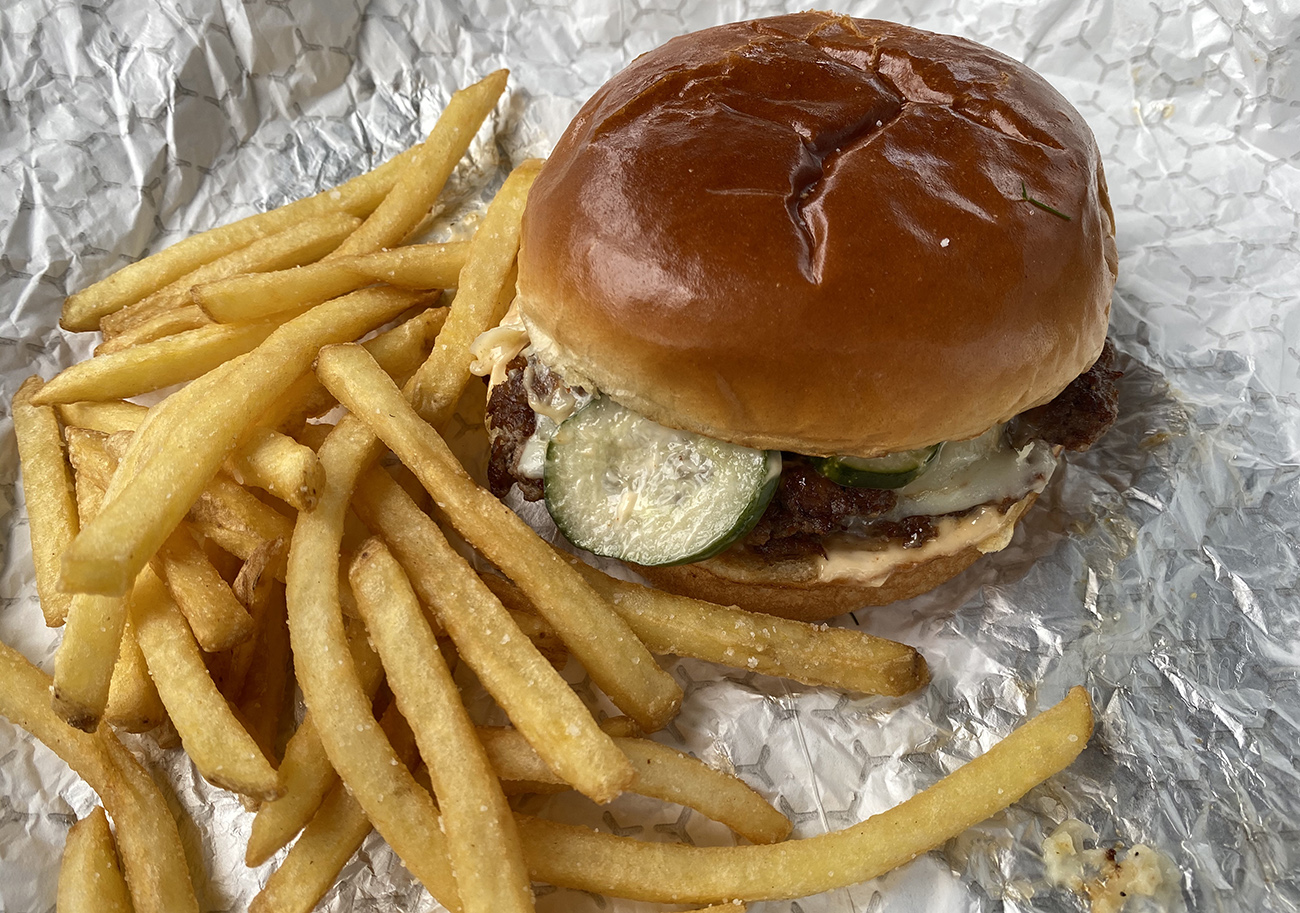 New Optimist Hall food stall Harriet's Hamburgers has two food items: burger and fries