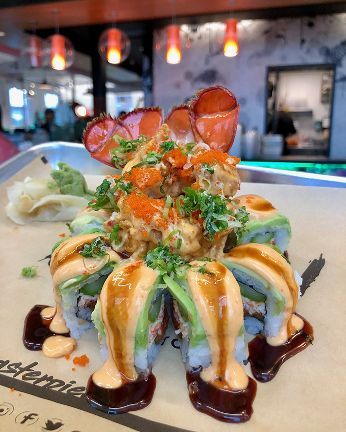 lobster sushi roll at zukku sushi optimist hall charlotte