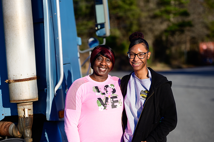 Mona Hill homeless bus driver, and daughter Rebekah, January 2020. Photo by Alvin Jacobs