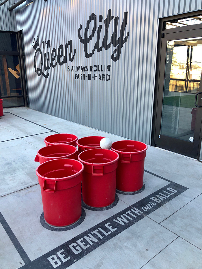 beer pong at pins mechanical south end patio