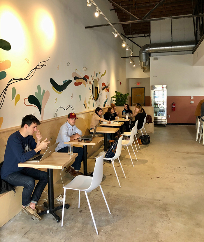 All day at this Villa Heights coffee and bottle shop, the bar is lined with laptop workers sipping pour - overs and specialty lattes. Plus, there's plenty of comfy seating for a casual meeting or creative work session.