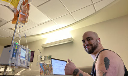 CMS teacher battling stage 4 cancer continues to teach from his hospital bed