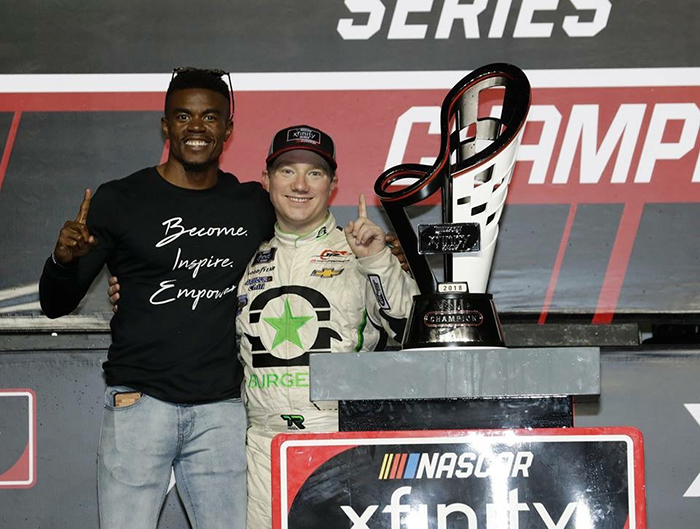 Curtis Walls and Tyler Reddick after they won the Xfinity championship