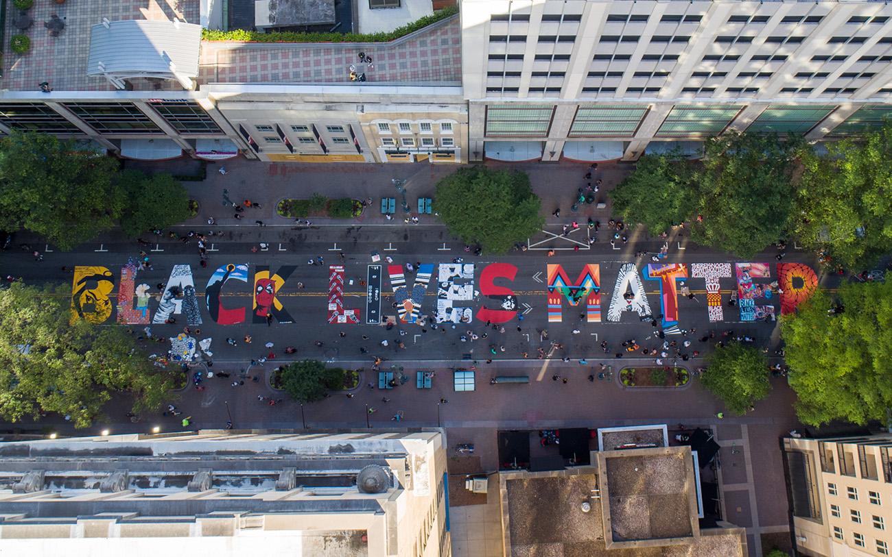Aerial view of Charlotte's Black Lives Matter street mural