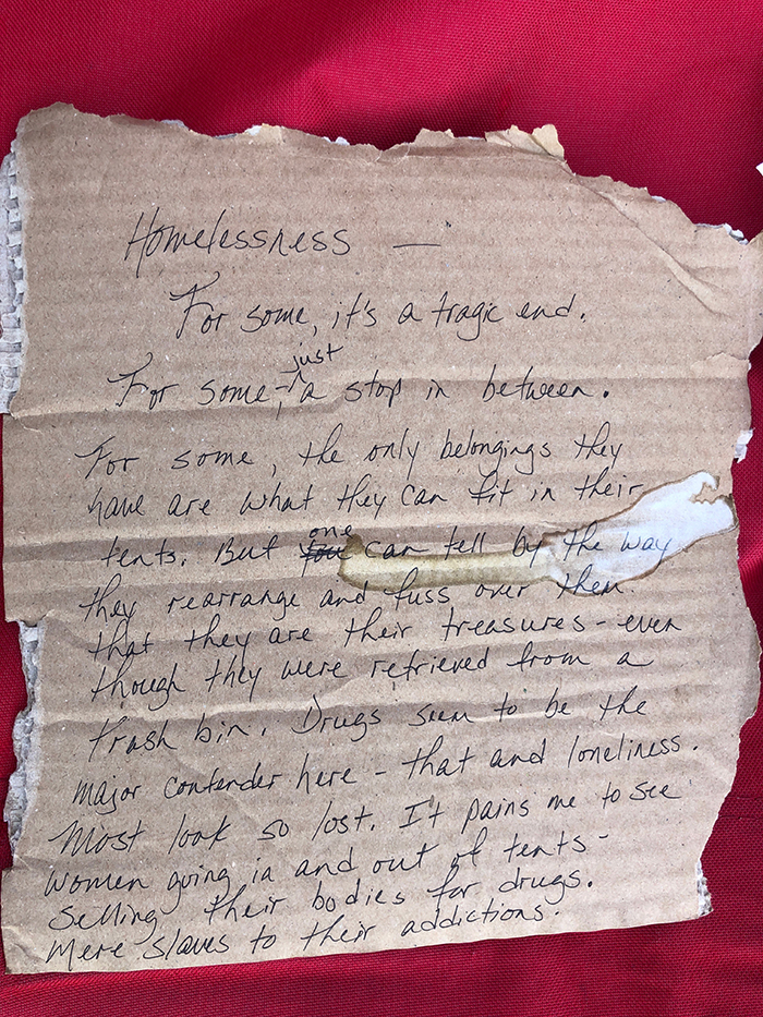 Letter on homeless Tent City at
