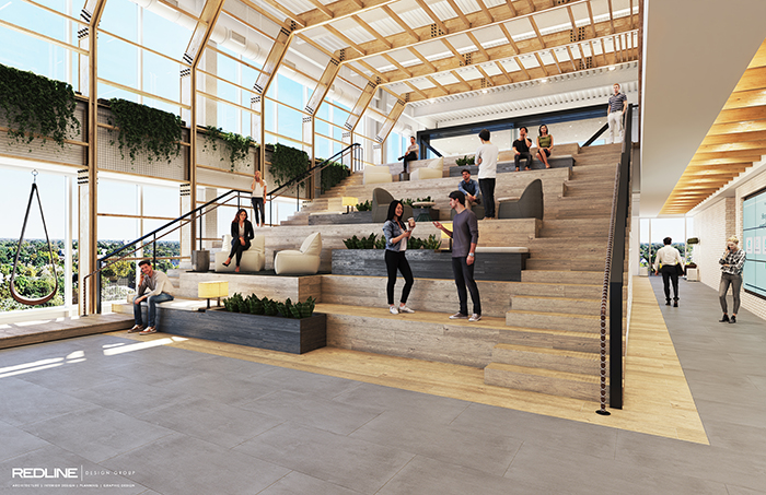 Rendering of the 'town hall' staircase area at LendingTree's new headquarters under construction in South End (courtesy of LendingTree)