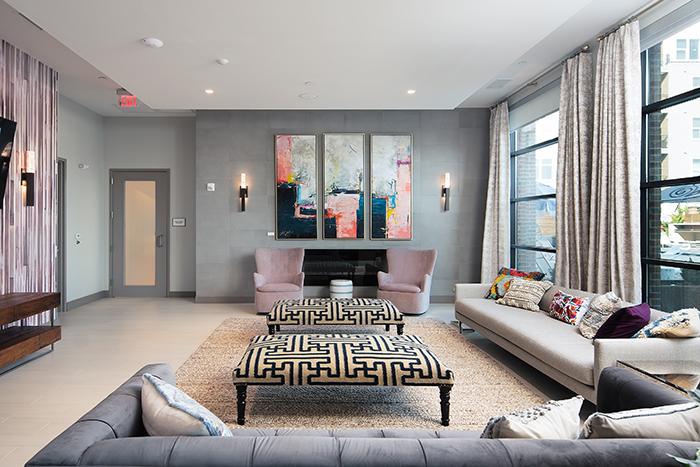 Hub South End TV Room- Lauren Reddick-mixed media on canvas